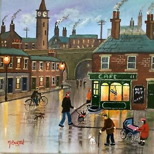 MAL.BURTON ORIGINAL OIL PAINTING.  THE CAFE NORTHERN ART DIRECT FROM ARTIST NEW