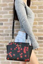 Michael Kors Selma Medium Messenger Bag Crossbody Black MK Red Rose