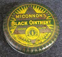Vintage McCONNON'S BLACK OINTMENT Advertising Tin WINONA MN (AB342)