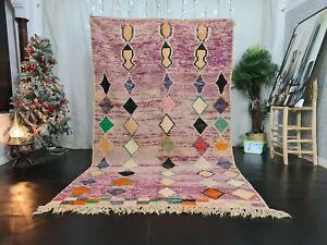 """Boujad Handmade Moroccan Vintage Rug 5'9""""x9'6"""" Geometric Purple Berber Wool Rug"""
