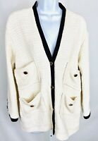 Maje Size 3 Large Womens Tweed Blazer Jacket Ecru Black Trim