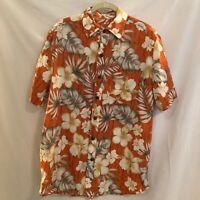 Caribbean Joe Mens Hawaiian Shirt Medium Cotton Orange White Floral