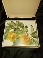 "Vintage Harrods placemats set of 6 ""sheraton"" Riefel fruits"