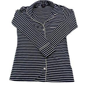 Womens XXSP Open Front Pajama Top Shirt Blue White Striped Duster
