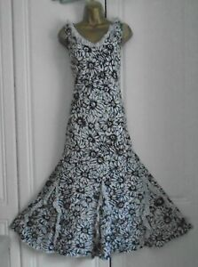 PER UNA LINED BLACK & WHITE COTTON  FRILLY FLOATY FLORAL & SPOTTED DRESS 14L