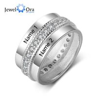 Personalised Couple Names Ring Birthday Anniversary Present Gift Promise Ring