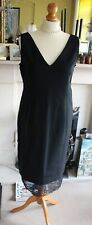 Marks and Spencer Collection secret slimming black shift dress with lace trim 14