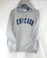 Womens Majestic Chicago Cubs Gray Blue Baseball Pullover Hoodie Sweatshirt