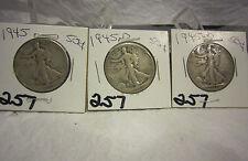 1945 Walking Liberty Half Dollar Lot One Each P D S 3 Coins Lot 257