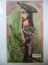 Cuba CHAMART Artist Charo Hand SIGNED Painting PIRATE WITH SWORD BEARD HAT PF