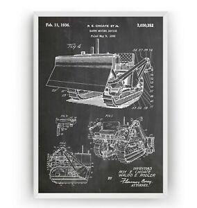 Bulldozer Earth Mover 1936 Patent Print - Digger Poster Art Decor - Unframed