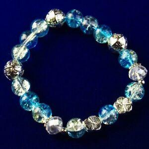 Blue Rock Crystal Ball Tibetan Silver Flower Stretchy Bracelet 7.5 Inch D16750