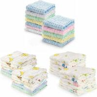 12PCS Gauze Muslin Baby Kids Bibs Wash Face Towel Cloth Hand Saliva Bath Towel