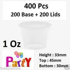 1Oz (30ml) 400 Pcs 200 Base + 200 Lids Round Sauce Take Away Containers Portion