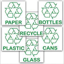 6 x stickers-recycle riciclaggio Carta Plastica Lattine Bottiglie Vetro-Bin segni LOGO