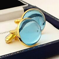 Vintage 1970s Aqua Blue Glass - Large Round Goldtone Cufflinks