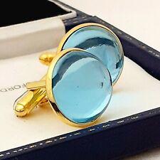 Vintage 1970s Aqua Blue Glass - Large Round Goldtone Cufflinks