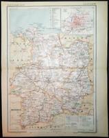1894 ANTIQUE PRINT COLOUR MAP of ILLE-ET-VILAINE Rennes FRANCE French CARTE