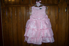 NWT MUD PIE PINK ROSE SUNDAY SILK DRESS 5T