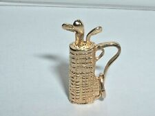 14k YELLOW GOLD 3D GOLF BAG GOLFING CHARM