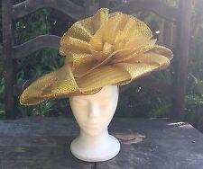 Vintage Gold Women's Cartwheel Formal Hat - Easter Derby Church Dressy