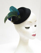 Teal Green Black Blue Peacock Feather Pillbox Hat Hair Fascinator Races Vtg 2276