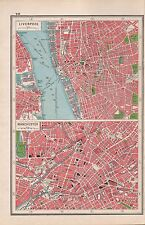 1920 MAP -POST WW1- TOWN PLAN-LIVERPOOL, MANCHESTER, 2 IMAGES
