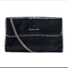 NWT Michael Kors Chelsea Python Embossed Oversized Leather Clutch Chain Bag $278