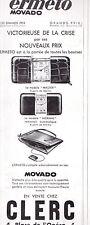 PUBLICITE de presse Montres Ermeto Movado 1933 horlogerie