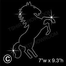 """Rearing Horse"" Rhinestone/Diamante Transfer Hotfix Iron on Appliqué+Free Gift"
