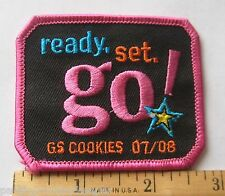 Girl Scout 2007-2008 COOKIE SALE PATCH Ready Set Go NEW Selling Incenctive Award