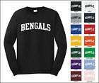 Bengals College Letter Team Name Long Sleeve Jersey T-shirt