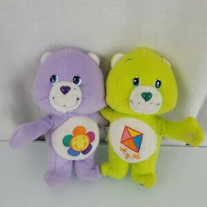 """Care Bears Do-Your-Best And Harmony Cuddle Hug Pair Hugging Plush 2003 7"""""""