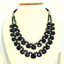 NATURAL BLACK ONYX FACETED GEMSTONE 925 SOLID STERLING SILVER NECKLACE 64 GRAMS
