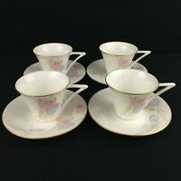 Lot of 4 VTG Cups and Saucers Mikasa Swiss Garden Bone China Floral CR009 Japan