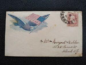 Civil War: Washington, DC 1860s Flying Eagle with Flag Cover to Newark, NJ