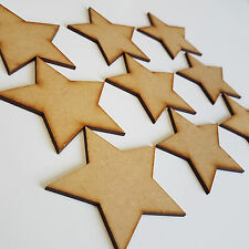 10 x Wooden Star - Shape Laser Cut MDF Blank Embellishments Art Craft SIZE 100mm