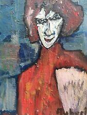 Très Belle Peinture De Michel Aubert Expressionniste Portrait Huile Sur Toile
