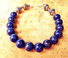 GENUINE LAPIS LAZULI NATURAL GEMSTONE NECKLACE BLUE GOLD INDONESIAN BRASS BEADS