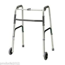 Zimmer Walker Frame With Wheels Folding Lightweight Mobility Walking Aid.