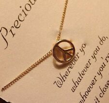 PETITE RETRO PEACE NECKLACE Gold Plated Pendant Charm