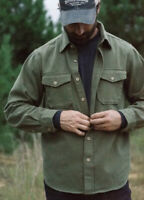 $179 NWT BUFFALO JACKSON Forest Green 100% Heavyweight Cotton Shirt Jacket Small