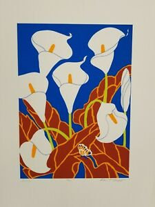 """FALL SALE! ANN T. COOPER  Limited Edition Signed Silkscreen -  """"Lilies"""" - SIGNED"""
