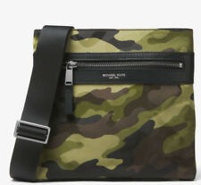MICHAEL KORS 2018 Green Camo Military Flat Crossbody Man Bag Side Reporter SALE