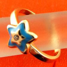 FSA387 GENUINE REAL 18CT YELLOW G/F GOLD DIAMOND SIMULATED BLUE ENAMEL STAR RING