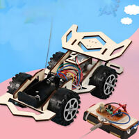 DIY Wooden Assembly RC Remote Control Car Vehicle Education Kit Children Toy
