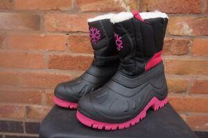 MUDDY PUDDLES GIRLS THERMAL SNOW BOOTS - BLACK PINK SNOWFLAKE - UK 12 13 1 2 3