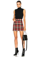 $430 Rag & Bone Leah Tartan Plaid Zip Mini Skirt with Leather Detailing