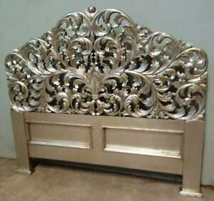 Rococo Antique Silver 5' King Size Mahogany Louis Freestanding Carved Headboard