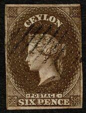 Ceylon 1857 SG6b 6d Deep Brown Very Good Used Cat. £1000.00